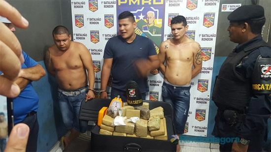 Trio capturado com 20 quilos de maconha e cocaína
