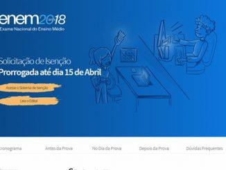 As inscrições deverão ser feitas das 10h do dia 7 de maio às 23h59 de 18 de maio deste ano, pelo site do Enem.