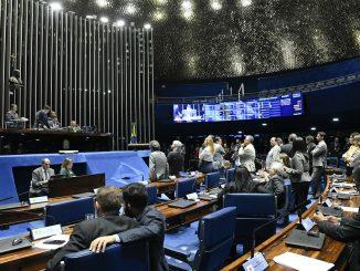 Plenário do Senado Federal durante sessão deliberativa ordinária. Ordem do dia. Mesa: presidente do Senado, senador Davi Alcolumbre (DEM-AP); senador Chico Rodrigues (DEM-RR). Foto: Roque de Sá/Agência Senado