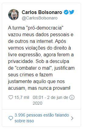 Carlos Bolsonaro se posicionou na sua conta no Twitter confirmando a veracidade das informacoes vazadas pelo grupo