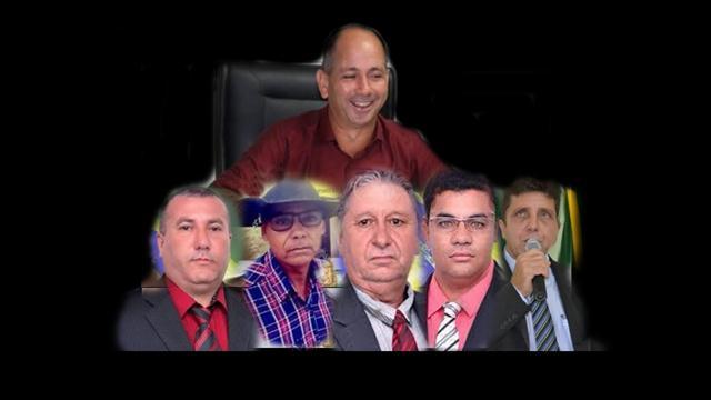 Eliomar Patrício (Solidariedade), e os vereadores Nilton Cezar Tosta Xavier (MDB), Clemente Alves Batista (PT), Eliseu dos Santos Oliveira (PTB), Enocz Dionisio (PP) e Reginaldo Marques Silva (PTB)