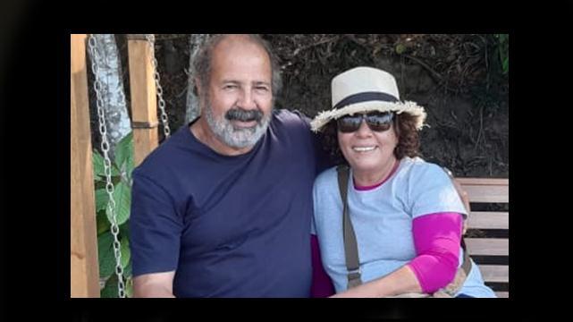 Mário Márcio e a professora Célia